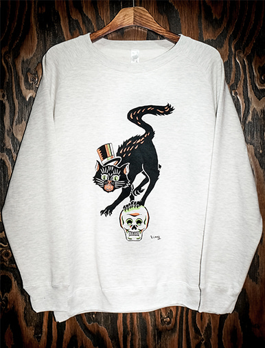 CAT ON SKULL II SWEAT SHIRT
