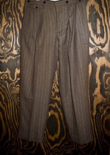 DRAPERS STRIPE HIGH-BACK 2TUCK TROUSERS