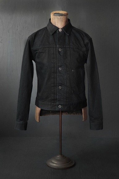 15OZ BLACK DENIM PLEATS JACKET