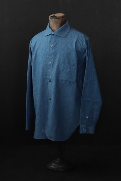 1920s MICRO HERRINGBONE CHAMBRAY CONVERTIBLE COLLAR SHIRT